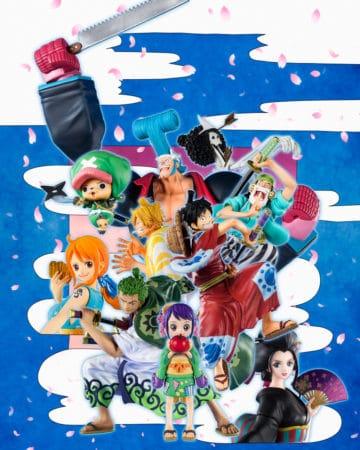 Figuarts Zero Monkey D. Luffy (Luffy Taro), Tony Tony Chopper (Chopeamon), Ussop (Usohachi), Roronoa Zoro (Jiro Zoro), Sanji (San Goro), Brook (Honekichi) & Otama, Nico Robin (O-Robi), Nami (O-Nami), Franky (Franosuke)